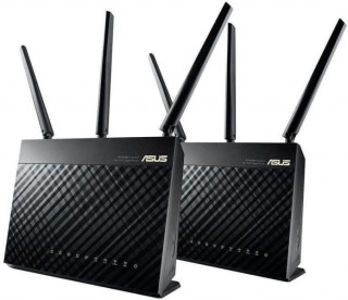 Asus RT-AC68U 2 darabos AC1900 Mbps Dual-band gigabit gaming AiMesh mesh Wi-Fi router rendszer PC