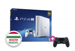 PlayStation 4 (PS4) Pro 1TB Glacier White (fehér) + PS4 Sony Dualshock 4 Wireless Controller (OEM)