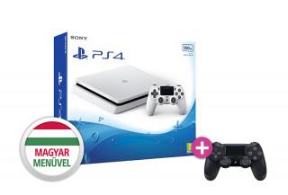PlayStation 4 (PS4) Slim 500GB Glacier White (fehér) + PS4 Sony Dualshock 4 Wireless Controller (OEM) PS4