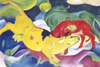 Mini művész puzzle 150 Franz Marc: Cows - Yellow, Red, Green (36) Ajándéktárgyak