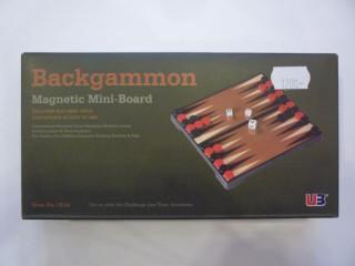 Összehajth. mágn. backgammon, műanyag, 16,5x16,5x2,5cm - 1516 Ajándéktárgyak