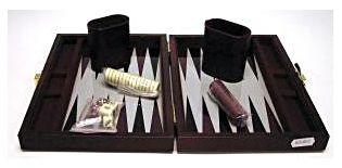 Backgammon 23x17 cm, barna műbőr - 604067 Ajándéktárgyak
