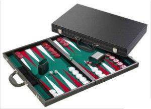 Backgammon, 46 cm-es, fekete műbőr koffer 605513 Ajándéktárgyak