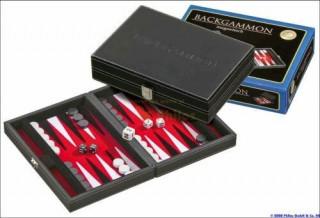 601711 Backgammon 23 cm, fekete műbőr Ajándéktárgyak
