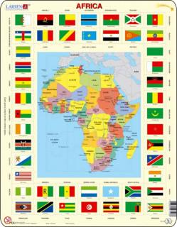 Larsen maxi puzzle 70 db-os Afrika térkép és zászlók KL3 Ajándéktárgyak