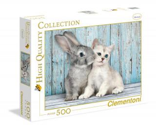 Clementoni 500 db-os puzzle Nyuszi és cica 35004 Ajándéktárgyak