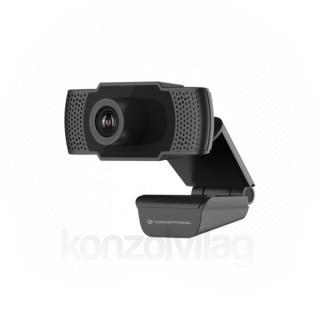 Conceptronic Webkamera - AMDIS01B (1920x1080 képpont, 2 Megapixel, 30 FPS, USB 2.0, univerzális csipesz, mikrofon)