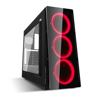 Spirit of Gamer Számítógépház - Deathmatch V Red (fekete, ablakos, 3x12cm ventilátor, ATX, mATX, 1xUSB3.0, 1xUSB2.0)