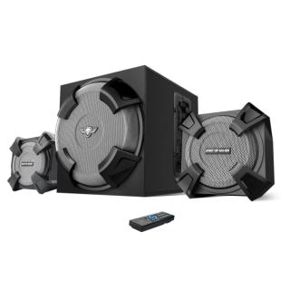 Spirit of Gamer Hangszóró 2.1 - SGS 2.1 (MultiPlatform, Bluetooth/3,5mm Jack/ USB/SD/FM Rádió, távirányító) PC
