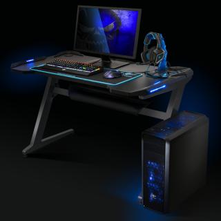 Spirit of Gamer Gamer Asztal - Headquarter 100 (Fa lap, fém lábak, fekete, kék LED háttérvilágítás, 130 x 20 x 75 cm) PC