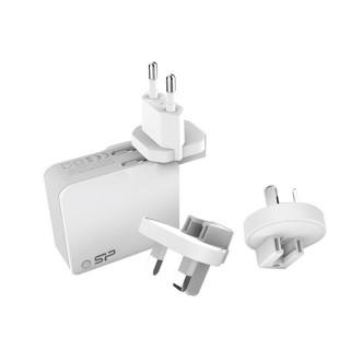 Silicon Power Telefon töltő - 3 féle hálózati csatlakozóval UK/EU/AU,  2db USB port (DC 5V 2.4A 12W max.)