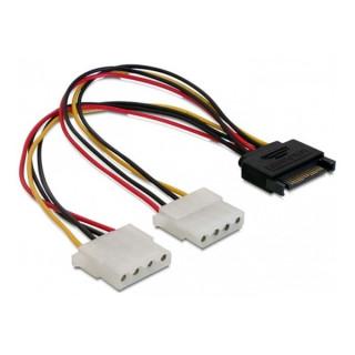 Delock Átalakító Kábel - 65159 (15 tűs SATA (apa) – 2 db 4 tűs Molex (anya), 0,2m)