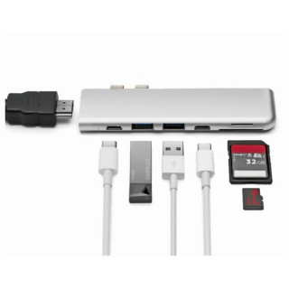MINIX Átalakító - NEO C-D (USB-C MacBook Pro-hoz -> mSD, SD, USB-C, 2xUSB3.0, Thunderbolt3, HDMI) PC
