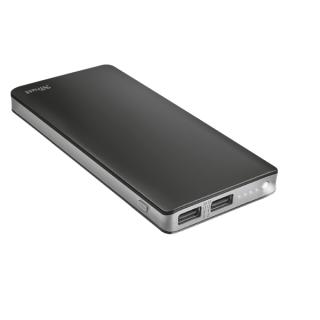 Trust Akkubank - Primo Thin Powerbank (10000mAh; 5W USB + 10W USB; Töltöttség jelző; Zseblámpa)