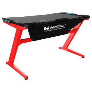 Sandberg Gamer Asztal - Fighter Gaming Desk (Fa lap, fém lábak; fekete-vörös; 120x66x73 cm) PC