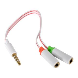 Sandberg Kábel Átalakító - Headset converter Dual->Single (3,5mm TRRS jack apa -> 3,5mm jack audio+mikrofon anya; fehér)