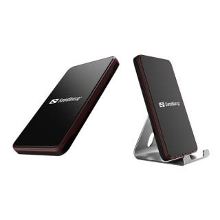 Sandberg Telefon töltő Vezeték nélküli - Wireless Charger Alu Dock (10W; aluminium tartó; Qi szabvány; 85% hatásfok) Tablet