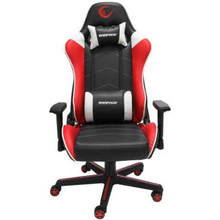 Rampage Gamer szék - KL-R79 Comfort (fehér-fekete-vörös; állítható magasság; állítható kartámasz; 3D PVC bőr; 120kg-ig)