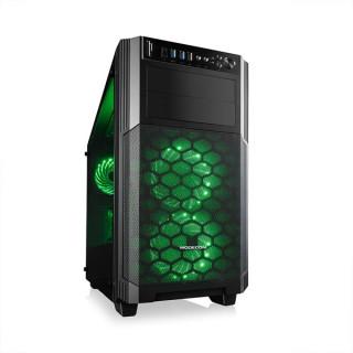 ModeCom Számítógépház - REA GLASS RGB (mATX, ITX,  2xUSB3.0; 1xUSB2.0, HD Audio; Memóriakártya olvasó, fekete)