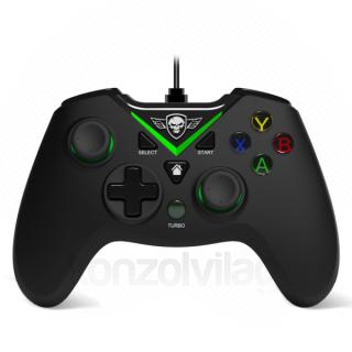 Spirit of Gamer Gamepad - PGX WIRED Green (USB, 1,8m kábel, Vibration, Xbox ONE és PC kompatibilis, fekete-zöld) PC