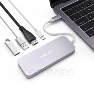 MINIX Átalakító - NEO C HAGR (USB-C Multiport SSD Storage Hub, Apple MacBook / Air / Pro, 2xUSB 3.0, USB-C, HDMI 4K) PC