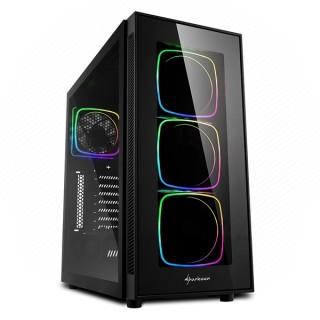 Sharkoon Számítógépház - TG6 RGB (fekete; ATX,mATX; alsó táp; 4x120mm v.; 2xUSB3.0, 2xUSB2.0, I/O)