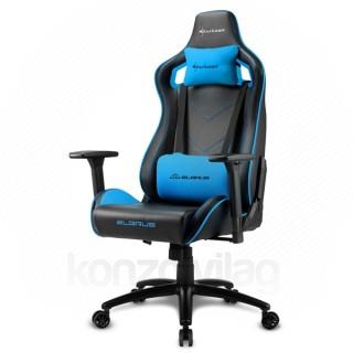 Sharkoon Gamer szék - Elbrus 2 Black/Blue (állítható magasság; állítható kartámasz; műbőr; acél talp; 150kg-ig) PC