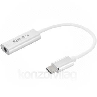 Sandberg Átalakító Kábel - USB-C to Audio Adapter (USB-C, 1x 3,5 mm jack, fehér) PC