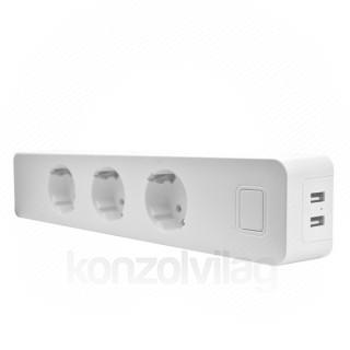 Woox Smart Home Okos Elosztó - R4056 (3*110-240V AC, 2x USB, túláram-érzékelő, túlfeszültség-védelem)