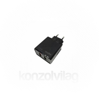 APPROX Telefon töltő - 2db USB2.0, 18W, QC3.0, Fekete