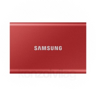 Samsung Külso SSD 2TB - MU-PC2T0R/WW (T7 Touch external, piros, USB 3.2, 2TB)