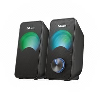 Trust Hangszóró 2.0 - Arys Compact RGB (6W RMS; hangerőszabályzó; 3,5mm jack; USB tápcsatlakozó; fekete, RGB)