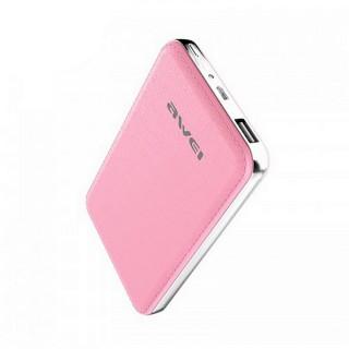 AWEI P84K - Bőrhatású elegáns powerbank 10400mAh - Pink