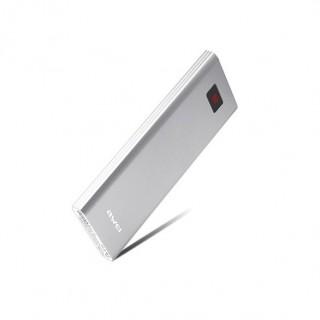 AWEI P91K - Elegáns fémházas Powerbank 8000 mAh LCD kijelzővel - Ezüst