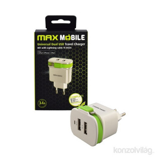 Max Mobile 3.4A univerzális fehér-zöld hálózati tölto MFI Apple kábellel