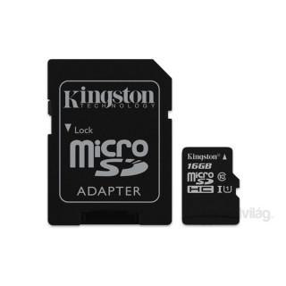 Kingston 16GB SD micro Canvas Select 80R (SDHC Class 10  UHS-I) (SDCS/16GB) memória kártya adapterrel PC