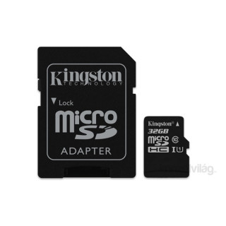 Kingston 32GB SD micro Canvas Select 80R (SDHC Class 10  UHS-I) (SDCS/32GB) memória kártya adapterrel PC