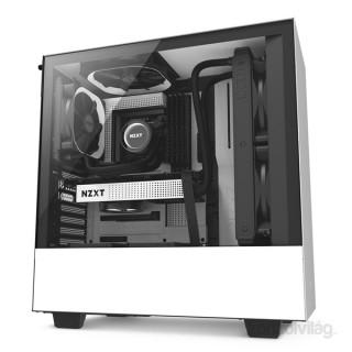 NZXT H500 Fekete-Fehér (Táp nélküli) ablakos ATX ház PC