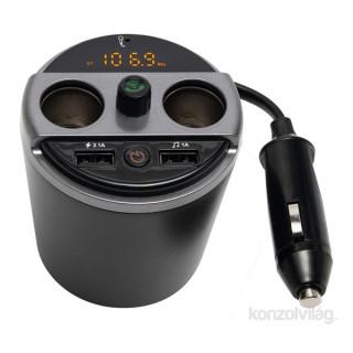 SAL FMBT 16 2x USB/2x szivargyújtós Bluetooth telefon kihangosító és FM transzmitter Mobil