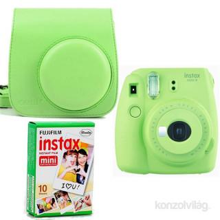 Fujifilm Instax Mini 9 zöld + tok + film analóg fényképezőgép kit
