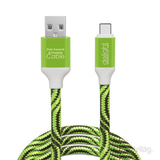 Delight zöld USB Type-C adatkábel 1m PC