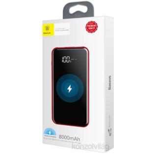 Baseus 8000mAh vezeték nélküli piros power bank Mobil