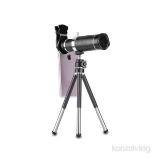 Quazar 20x Mobilscope Zoom fekete univerzális teleobjektív okostelefonokhoz mini fotóállvánnyal Fotó, videó