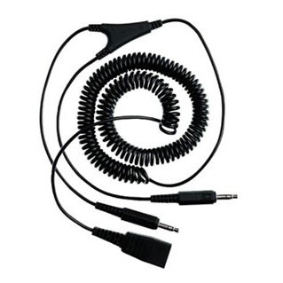 QD Cord to 2x 3,5mm pin plug , coiled, 0,5 - 2 meters, for GN2100, GN2000, GN220 PC