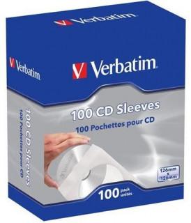 Verbatim 100 db CD/DVD boríték, papír, ablakos, öntapadó füllel, fehér PC