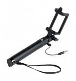 Teleszkópos, vezetékes selfie bot, univerzális, fekete